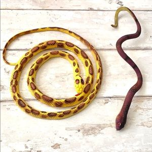 Ribbed Snake Toys Set of 2 Yellow Spots & Brown